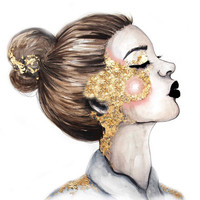 Gold Cheeks // Fashion Illustration Art Print by Paper&Ink