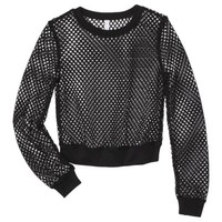 Xhilaration® Junior's Mesh Cropped Sweatshirt - Black