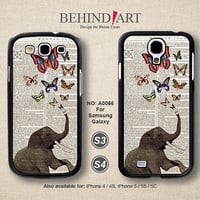 Samsung Galaxy S4 case, Samsung Galaxy S3 case, Phone Cases, Phone Covers, Skins, Case for Samsung, Elephant-A0066
