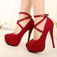 Womens Platform Pumps Sexy Fashion Strappy Buckle Stiletto High Heels Shoes