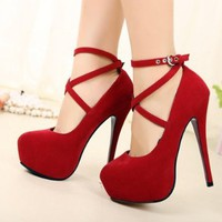 Womens Platform Pumps Sexy Fashion Strappy Buckle Stiletto High Heels Shoes (Red, US 7.5 / EU38)