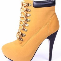 JJF Shoes Compose01 Tyrant Military Lace Up Platform Ankle Bootie Stiletto High Heel