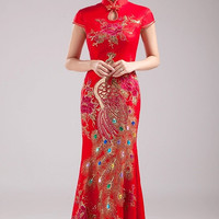 YannyExpress | Floor Length Cheongsam / Qipao / Chinese Wedding Dress with Red Lace Overylay