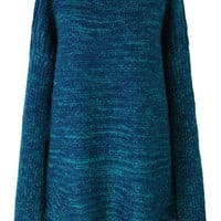 Blue Oversize Knit Sweater with Pom Pom Scarf
