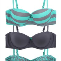 Pack of Three Bras with Cheetah, Stripes and Solid Print