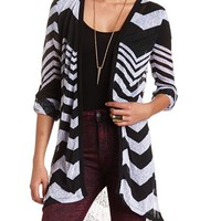 Extra-Long Sheer Chevron Cardigan