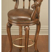 Barstool Pub Chair with Leather Seat and Back : Bars Cigars and Brew