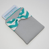 iPad Mini - Kindle - Nook - eReader Case - Gray with Turquoise Chevron Bow - Padded