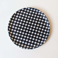 Round Linen Coated Tray Navy/White Check