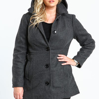 PLUS SIZE HOODED PEACOAT