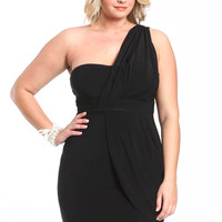 PLUS SIZE BLACK WRAP DRESS