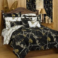 AP Black and White Camo Comforter and Sham Set