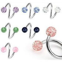 Body Colorz Lot of 7 Ultra Sparkle Spiral Twister Belly Navel Body Jewelry Piercing Bar Ring 14g