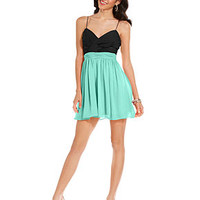 Hailey Logan Juniors Dress, Spaghetti-Strap Pleated Cutout A-Line