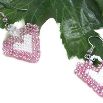 Brick Stitch Beaded Pink and White Heart Earrings