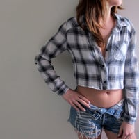Plaid Shirt Flannel Womens Cropped Crop Top Button Up Down Grey Gray Grunge Size Small Western