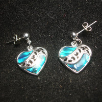 Paua Shell Heart Silvertone Earrings