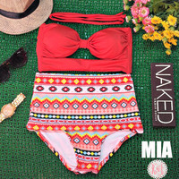 Mia - Retro Vintage Pin Up Handmade Red Tribal Aztec Cut Out Bandeau High Waist Bikini Swimsuit Swimwear