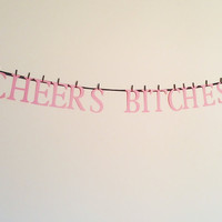 Mature content: Cheers Bitches,bachelorette party decor,novelty banners,funny new years decor,wedding banner,2014 banner