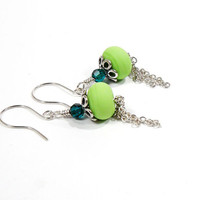Lime Green Earrings, Sterling Silver with Chain Tassel, Dainty Jewellery