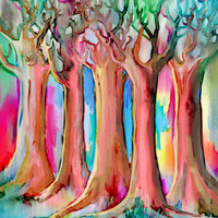 Dream Forest - rainbow colored tree painting Art Print by micklyn