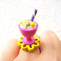 Kawaii Food Ring Ice Cream Miniature Food by SouZouCreations