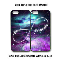 Custom Mint Purple Nebula BFF Best Friends Case -2 Cases for iPhone 4 / 5/ S3 S4