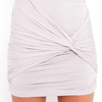 Ruched Knot Skirt - Dove Gray
