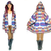 southwestern REVERSIBLE hooded geometic striped NATIVE boho hippie lightweight WINDBREAKER jacket, extra small-small
