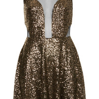 **SEQUIN AND MESH SKATER DRESS BY GOLDIE