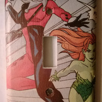 Comic Book Harley Quinn Poison Ivy comic light switch cover
