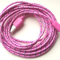 Iphone 5 Lightning Cable USB Charger Sync Cord 10 Feet (Pink Fabric Braided)