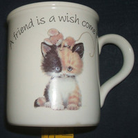 Carlton Cards A Friend Is A Wish Come True Kitten Cat and Mouse Best Friends Stoneware Coffee Mug Tea Cup