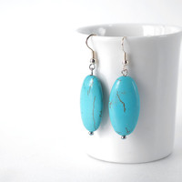 Mint Turquoise Stone Earrings in Oval, Genuine Turquoise Semi Precious Stone Drop Earrings, December Birthstone