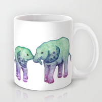 Baby Elephant Love - ombre mint & purple Mug by Perrin Le Feuvre