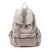 Candy Color Sequins Drawstring Canvas School Travel Flap Bag Backpack
