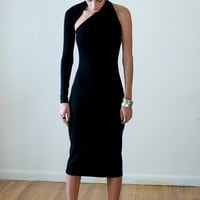 Black One-Shoulder Pencil Dress / Midi Dress / marcellamoda Signature Design - LBD - Model 03-1