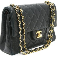 Chanel Black Leather Small Double Flap Classic