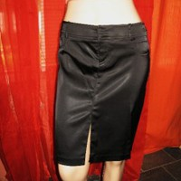 CACHE SKIRT BLACK STRETCH SATIN W BLACK RHINESTONES! SIZE 2