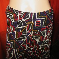 RUBY RD SKIRT RETRO STYLE LONG GEOMETRIC PRINT LINED S6