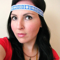 Grecian Ribbon headband with elastic back, forehead headband