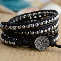 Urban chic rocker jewelry. Five wrap silver and black hematite bracelet