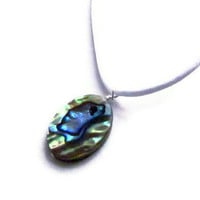 Iridescent Aqua Blue Paua Seashell Pendant On by SplendidStones