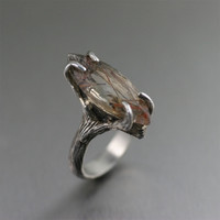Bronze Rutilated Quartz Sterling Silver Ring