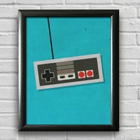 Game Print, Game Controller Print, Game Art, Apartment Decor, Dorm Decor, Geek, Gift for Gamer, Retro Print