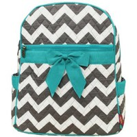 Grey & White Chevron Print Quilted Backpack