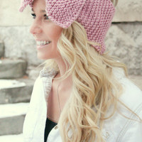 Oversized Bow Headband Ear Warmer Pink Head Wrap Garter Stitch Valentine's