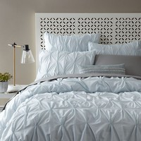Organic Cotton Pintuck Duvet Cover + Shams - Clearwater