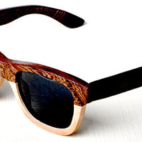 Wood Sunglasses - Eco-Friendly Burl Walnut & Bamboo Wayfarer Wood Sunglasses | Hand Made Wooden Glasses | Polarized Mirrored Lenses