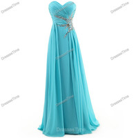Long prom dress - blue evening dress / long party dress / chiffon prom dress / blue prom dress / homecoming dress / long evening gown formal